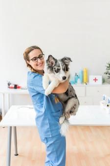Lächelnder junger weiblicher tierarzt, der den hund in der klinik trägt