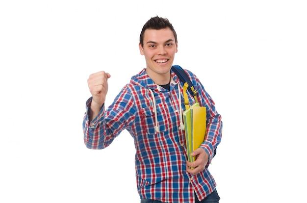 Lächelnder kaukasischer student mit dem rucksack und büchern lokalisiert auf wh