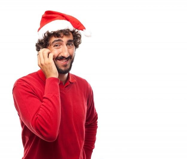 Lächelnder kerl mit seinem smartphone