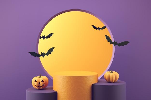 Lächelnder kürbischarakter mit fledermaus auf podiumshintergrund für halloween