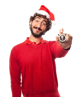 Lächelnder mann mit einer stoppuhr hält