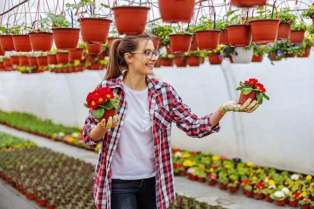 Lächelnder weiblicher unternehmer, der im gewächshaus steht und töpfe mit roten blumen hält