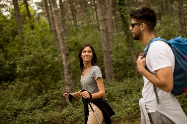 Lächelndes junges paar, das mit rucksäcken im wald geht