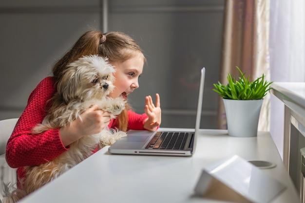 Lächelndes mädchen mit kleinem hund betrachtet den laptop. kommuniziert online zu hause