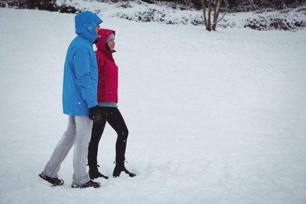 Lächelndes paar, das im verschneiten wald geht