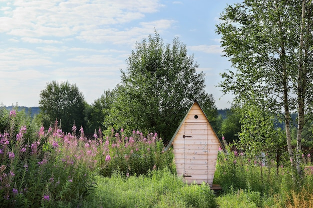 Ländliche außentoilette in der natur an einem sonnigen tag