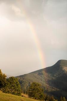 Ländliche aussicht mit einem schönen regenbogen