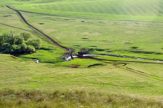 Ländliche landschaft im frühjahr. von oben betrachten