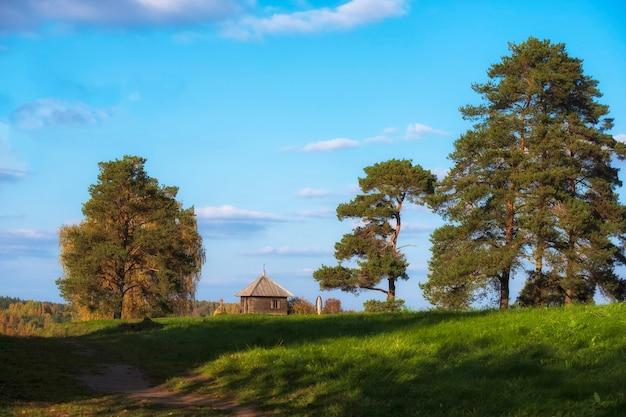 Ländliche landschaft mit blick auf die kleine kapelle, wald und felder. puschkin-hügel mit savkina gorka. russland region pskow im frühherbst