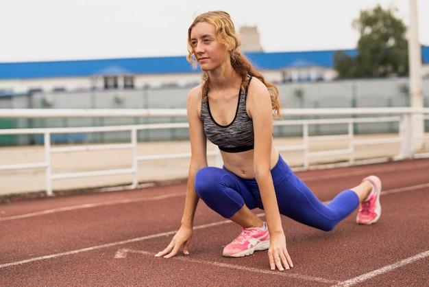 Läuferfrauenhaltung am marathon