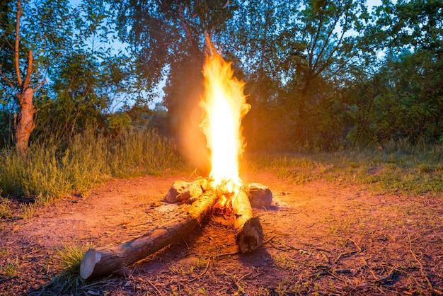 Lagerfeuer beim zelten im wald bei nacht