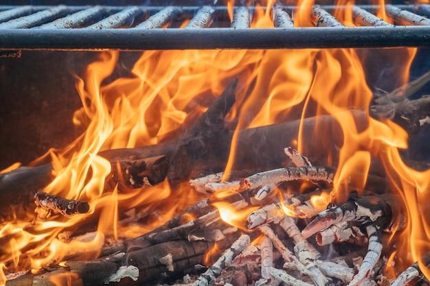Lagerfeuer, holz und feuer im lager über die natur der nahaufnahme
