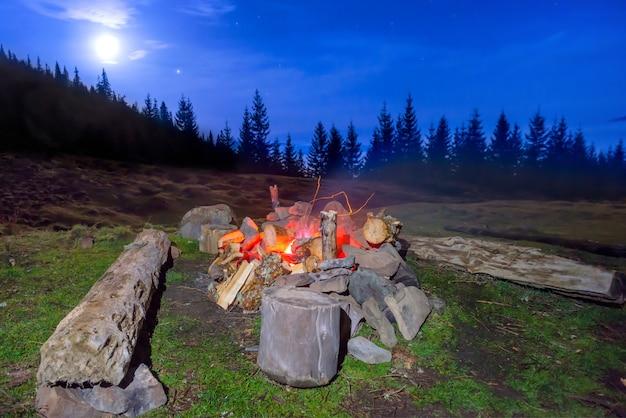 Lagerfeuer im nachtwald unter blauem dunklem himmel mit vielen sternen