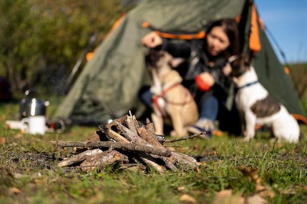 Lagerfeuer vorderansicht und verschwommene frau, die mit hunden spielt