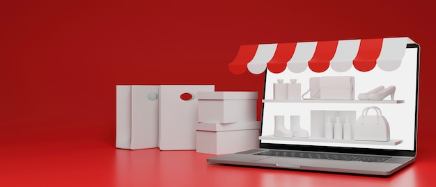 Lagerregale auf laptop-bildschirm und tropfsäcke komponieren auf rotem hintergrund 3d-rendering