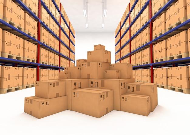 Lagerregale mit kisten gefüllt.