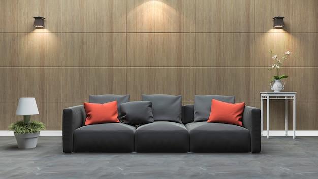 Laminatwandwohnzimmer der wiedergabe 3d mit schönem buntem sofa