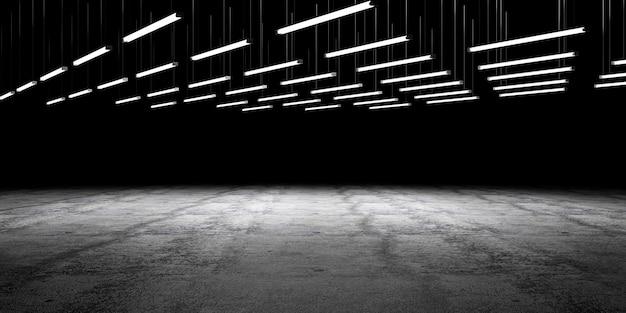 Lampe beleuchteter grunge betonboden mit leerem raum