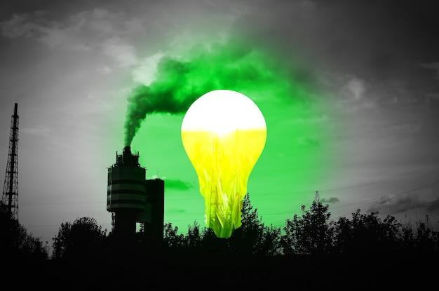 Lampenbirne in der nähe der dactory-pfeife mit rauch. neues ideenkonzept.