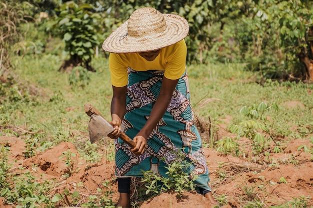 Landfrau, die das feld bearbeitet
