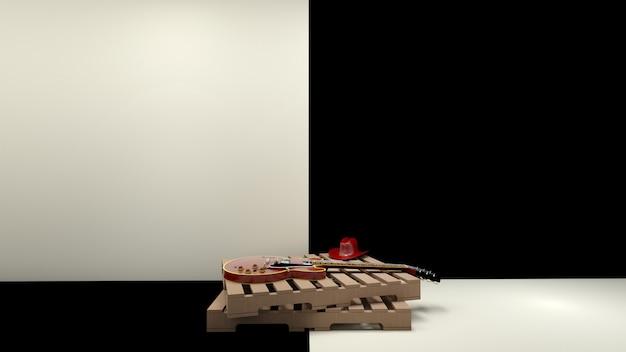 Landhausstil und e-gitarre auf palettenholz in pastellfarben