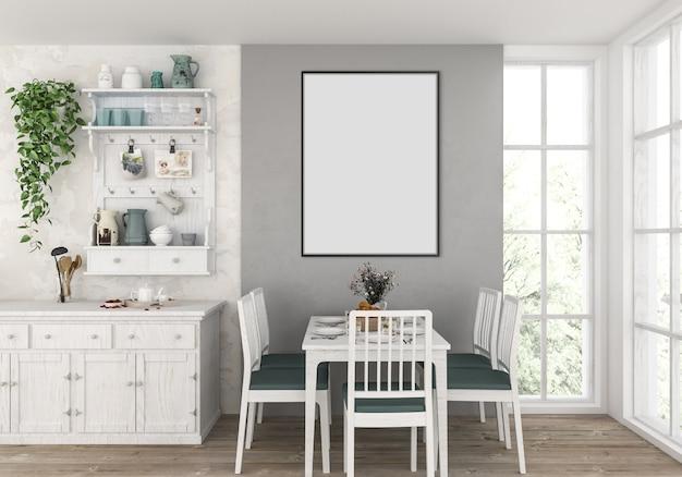 Landküche mit leerem vertikalem rahmen, grafikhintergrund.