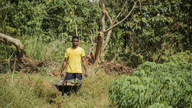 Landmann, der eine schubkarre drückt