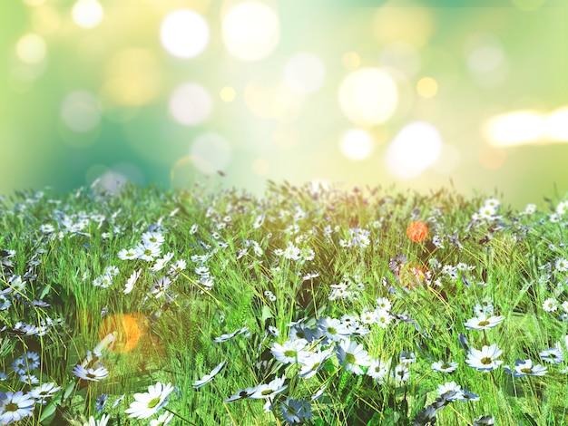 Landschaft 3d der gänseblümchen im gras