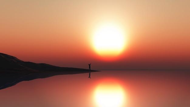 Landschaft 3d mit dem mann, der am seerand gegen einen sonnenunterganghimmel steht