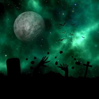 Landschaft 3d mit dem schattenbild des zombies aus dem boden gegen einen raumhimmel ausbrechend