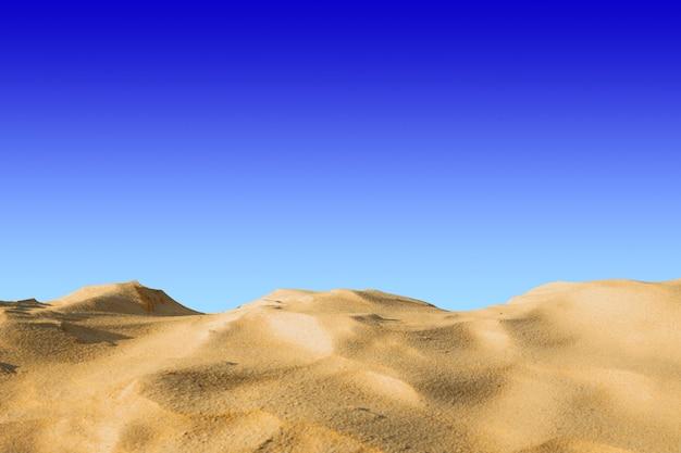 Landschaft blauer himmel des wüstenhügels zurück