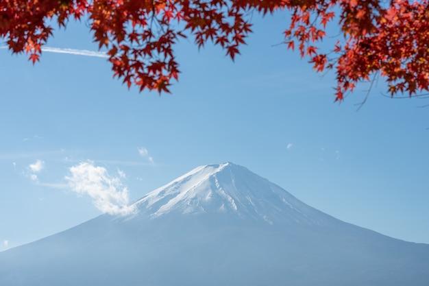 Landschaft der ansicht der fujisan und der helle rotahornblattrahmen kawaguchiko