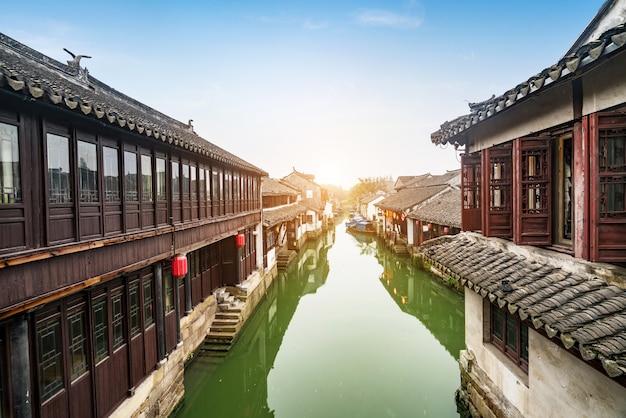 Landschaft der antiken stadt zhouzhuang, suzhou, china