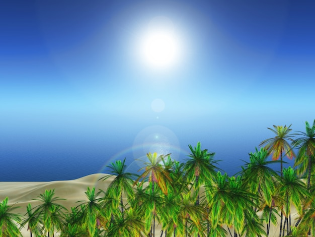 Landschaft der palme 3d gegen ozean