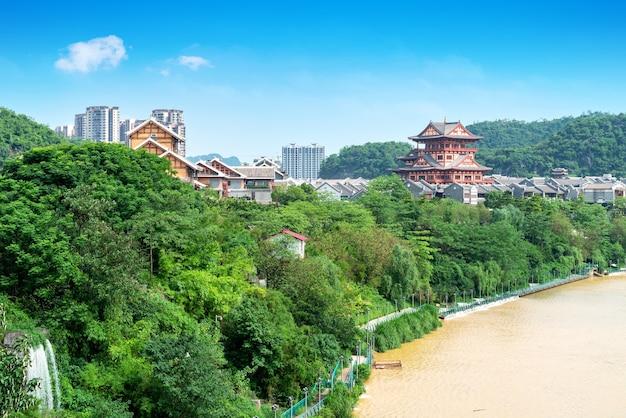 Landschaft des flusses liujiang, liuzhou, guangxi, china.