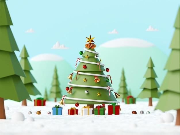 Landschaft des geschmückten weihnachtsbaumes mit geschenken auf einem schneebedeckten boden im wald, 3d-rendering