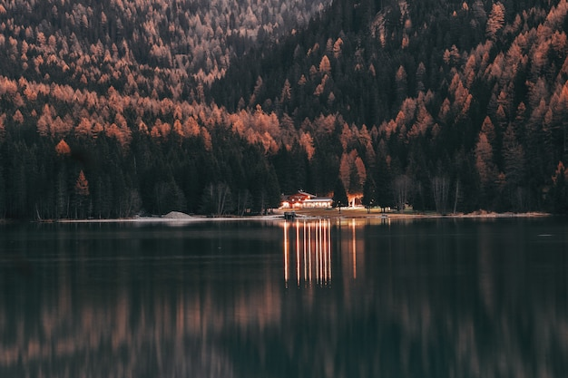 Landschaft des hauses nahe wäldern und ruhigem gewässer