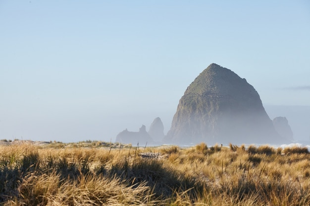 Landschaft des haystack rock im morgennebel am cannon beach, oregon