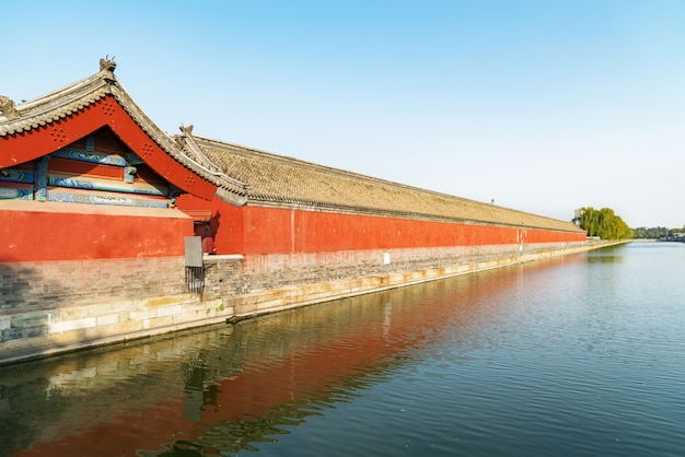 Landschaft des kaiserpalastecketurms in peking