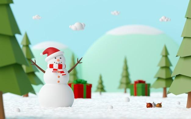 Landschaft des schneemanns im kiefernwald feiern mit weihnachtsgeschenk auf einem schneebedeckten boden, 3d-rendering