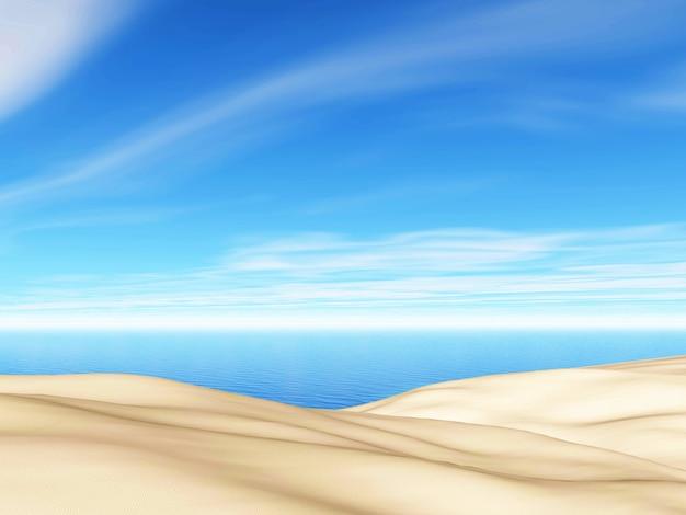 Landschaft des sommers 3d mit sand und meer gegen blauen himmel