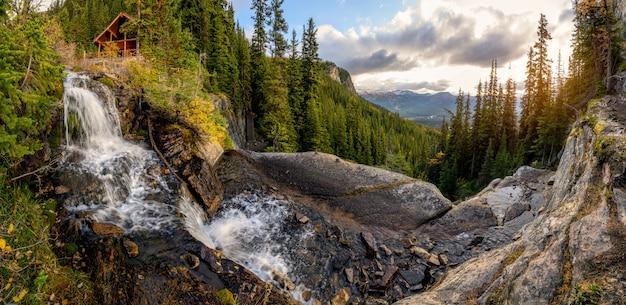 Landschaft des teehauses auf dem wasserfall, der in kiefernwald an nationalpark banff fließt