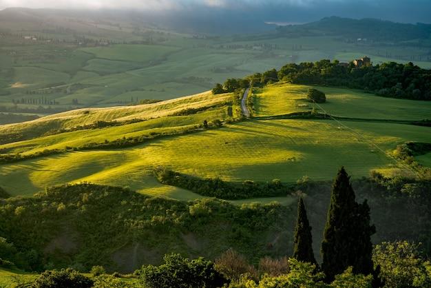 Landschaft des val d'orcia in der nähe von pienza italien