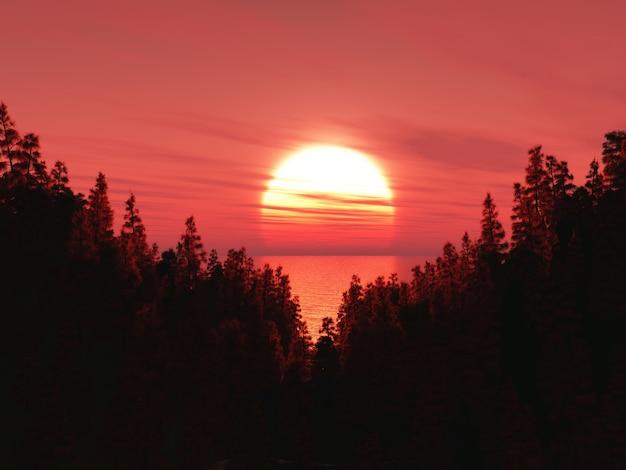 Landschaft des waldes 3d gegen einen sonnenunterganghimmel