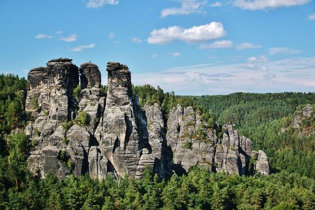 Landschaft mit farbigen bäumen in der sächsischen schweiz bei bastei