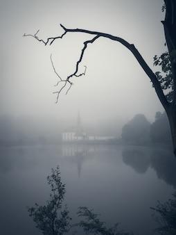 Landschaft mit nebel und einer alten burg