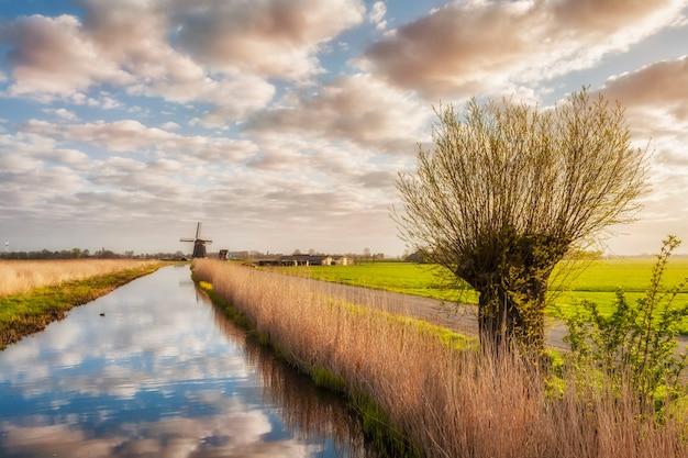 Landschaft mit windmühlen- und wolkenreflexion im wasser