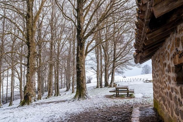 Landschaft neben der zuflucht betreten den aufstieg zum berg aizkorri in gipuzkoa. schneelandschaft im winter schneit