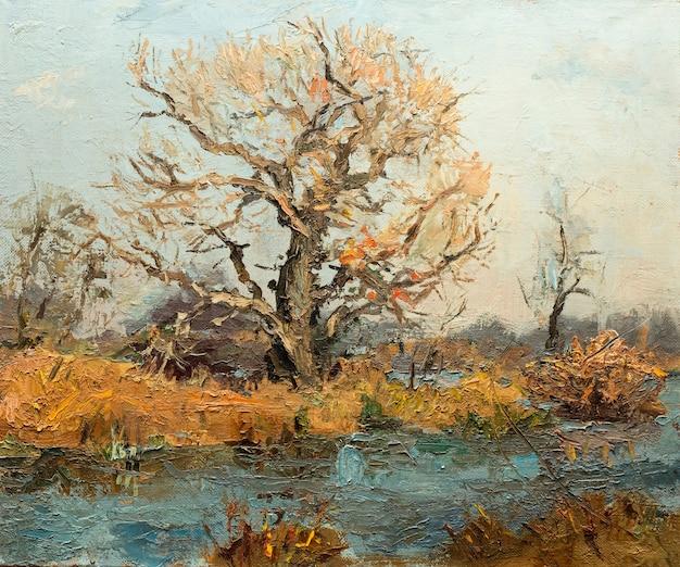 Landschaft, ölgemälde, handgemachte zeichnung