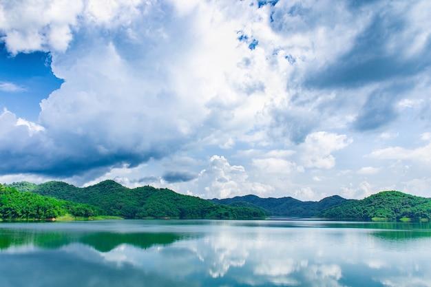 Landschaft und wolken himmel see und grüne berge